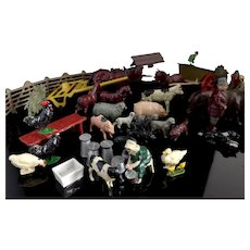 Vintage lead farm animals and accessories