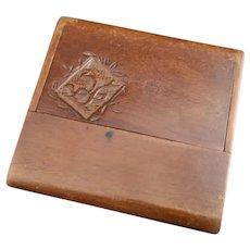 Antique Edwardian wooden calling card case