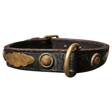 Antique Victorian leather and brass dog collar