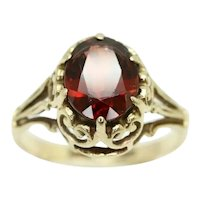Vintage 1988 9Ct Yellow Gold 1.2Ct Garnet Filigree Dress Ring, Size K