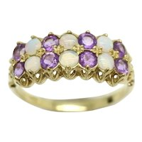 Stunning Vintage 9Ct Gold Two Row Opal Amethyst Half Eternity Ring, Size R 1/2