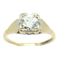 Vintage 1964 9Ct Yellow 0.7 Ct Solitaire Clear Spinel Engagement Ring, Size L