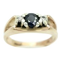 Vintage 1975 9Ct Gold Sapphire & Diamond Trilogy Engagement Ring, Size J