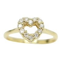 Stunning 18ct Gold 0.16CTW Diamond Set Heart Shape Engagement Ring, Size O
