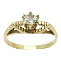 Vintage 1978 9Ct Gold Clear Cubic Zirconia Solitaire Engagement Ring, Size M