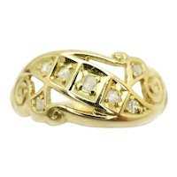 Antique 1911 Edwardian 18ct Gold Diamond Openwork Scroll Ring, Size N 1/2