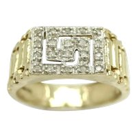 Vintage Unisex 9ct Yellow Gold Diamond Greek Key Signet Ring, Size U, 4.4g