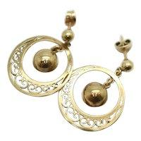 Vintage 9ct Circular Filigree Dangle Drop Earrings by PPLd, 4 g