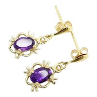 Vintage 9Ct Yellow Gold Amethyst Dangle Drop Earrings