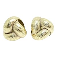 Vintage 9ct Gold Large 14 mm Patterned Knot Stud Earrings