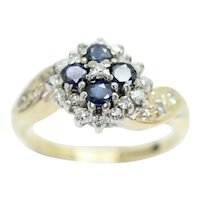 9ct Yellow Gold Sapphire and Diamond Twisted Shoulders Cluster Ring, Size K 1/2
