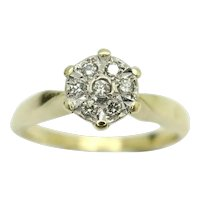 Charming 9Ct Gold 0.1 CTW Diamond Cluster Engagement Ring, Size N 1/2
