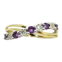 9Ct White and Yellow Gold Amethyst & Diamond Crossover Band Ring, Size K
