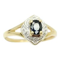 Stunning 9ct Yellow Gold Sapphire and Diamond Engagement Ring, Size M