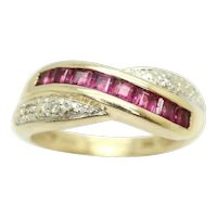 9Ct Gold Princess Cut Ruby & Diamond Accent Crossover Band Ring, Size K