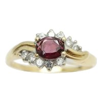 Vintage 9Ct Gold 0.35Ct Garnet & CZ Accent Crossover Ring, Size Q