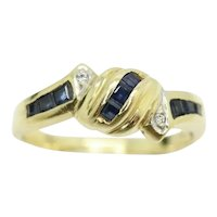 18Ct Gold Princess Cut Sapphire & Diamond Accent Crossover Band Ring, Size N