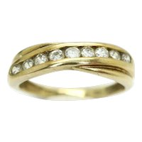 9Ct Yellow Gold Cubic Zirconia Twisted Design Half Eternity Ring, Size L 1/2