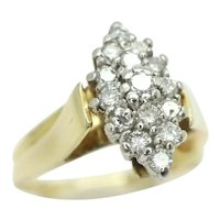 Stunning 14Ct Gold Marquise Shaped 0.5 CTW Diamond Cluster Ring, Size O