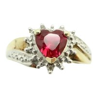 9Ct Gold 0.75 Ct Ruby Heart & Diamond Accent Dress Ring, Size N 1/2