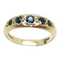 Vintage 9ct Yellow Gold 5 Stone Sapphire Gypsy Ring, Size O
