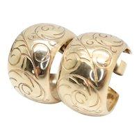 Vintage 9ct Gold 9.5mm Wide Scroll Etched Hoop Earrings