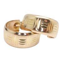 Vintage 9ct Gold 6.7mm Wide Diamond Cut Patterned Hoop Earrings