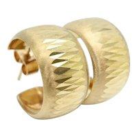 Vintage 9ct Gold 9.8mm Wide Diamond Cut Chunky Hoop Earrings