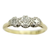 Vintage 18ct Gold & Platinum Trilogy Diamond Engagement Ring, Size R, 3g