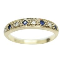 Vintage 1982 9Ct Gold Sapphire & Diamond Half Eternity Band Ring, Size P