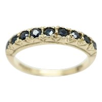 Vintage 1973 9Ct Gold 9 Stone Sapphire Half Eternity Band Ring, Size P 1/2