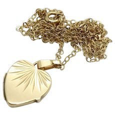 Vintage 9ct Gold Heart Locket Pendant Necklace, 3g