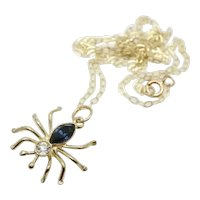 Vintage 9ct Gold Blue & Clear CZ Spider Pendant Necklace