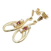 Vintage 9 Ct Gold Ruby & CZ Dangle Drop Earrings