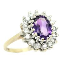 Vintage 9ct Gold 1.45 Ct Amethyst and CZ Cluster Ring, Size N 1/2