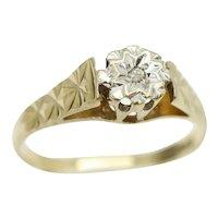 Vintage 9Ct Gold Solitaire Diamond Engagement Ring, Size K