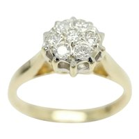 Superb Vintage 9Ct Gold 0.15 CTW Diamond Cluster Engagement Ring, Size K