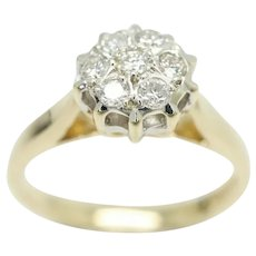 Superb Vintage 9Ct Gold 0.15 CTW Diamond Cluster Engagement Ring, Size K