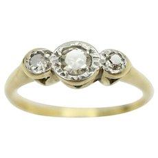 Vintage 18ct Gold & Platinum Trilogy Diamond Engagement Ring, Size J