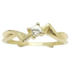 Unusual 18ct Gold Princess Cut Solitaire Diamond Engagement Ring, Size J
