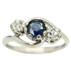 Vintage 9Ct White Gold Sapphire and Diamond Crossover Trilogy Ring, Size L