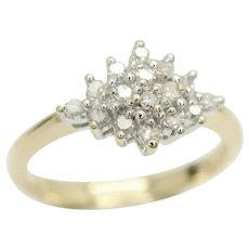 Vintage 9Ct Yellow Gold 0.15 CTW Diamond Cluster Ring, Size K 1/2