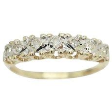 Vintage 9ct Gold 7 Stone Diamond Half Eternity Wedding Band Ring, Size N