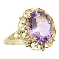 Stunning 9Ct Yellow Gold 2.5Ct Amethyst Filigree Scroll Setting Ring, Size P