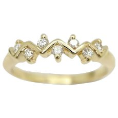 Unusual 18ct Gold 7 Stone Diamond Zig Zag Eternity Band Ring, Size K 1/2