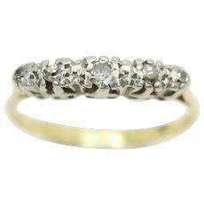 Vintage Art Deco 18ct Gold Platinum Five Stone Diamond Ring, Size N 1/2