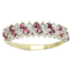 Vintage 1988 9Ct Gold Two Row Ruby and CZ Half Eternity Ring, Size M 1/2