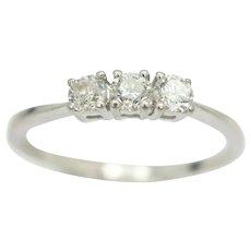 Trilogy Diamond Engagement Ring in 950 Platinum, Size M 1/2