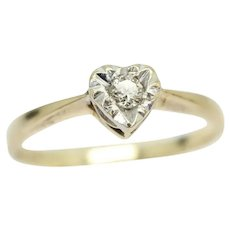 Vintage 1984 9Ct Gold Solitaire Diamond Engagement Heart Ring, Size M