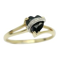 9Ct Gold 0.75 Ct Sapphire Heart & Diamond Accent Engagement Ring, Size Q
